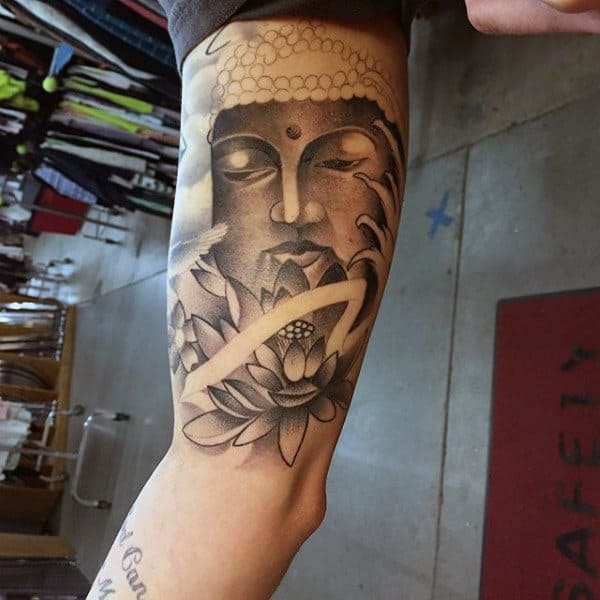Shaded Grey Black Buddha And Lotus Tattoo On Inner Arm For Men