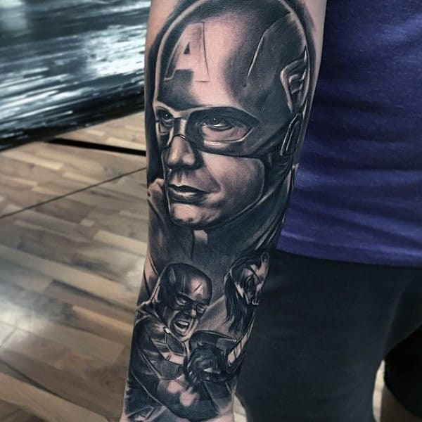 Shaded Grey Captain America Sleeve Male Tattoos