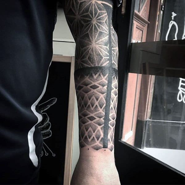 Shaded Grey Full Sleeves Pattern Tattoo