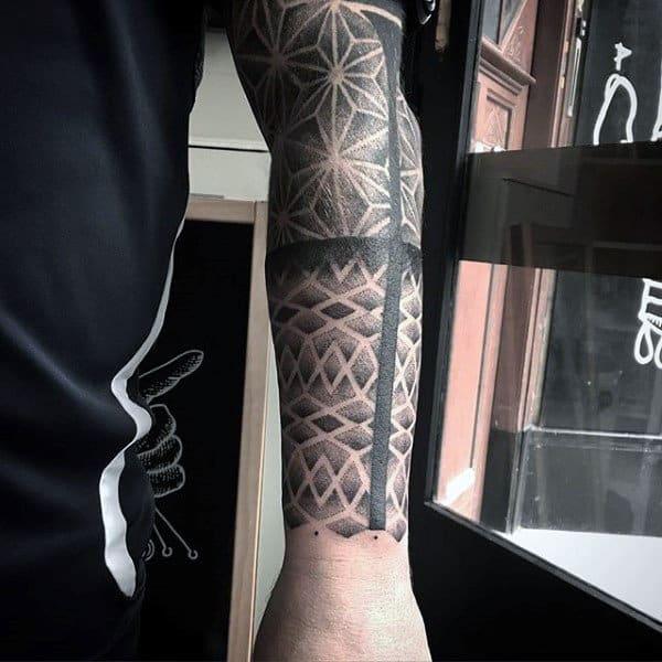 Shaded Grey Full Sleeves Pattern Tattoo