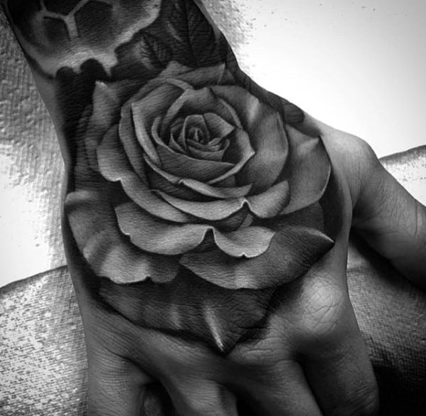 Shaded Grey Ink Hand Rose Flower Tattoos For Men