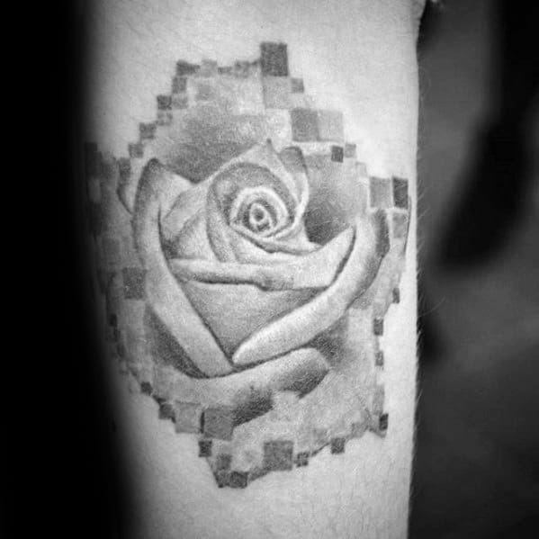 Shaded Grey Ink Rose Flower Inner Forearm Pixel Tattoos Men