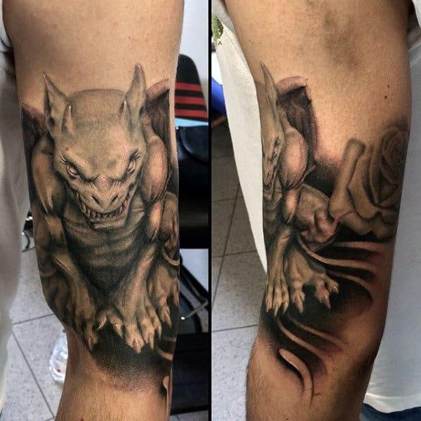 Shaded Grey Male Gargoyle Tattoo On Arm