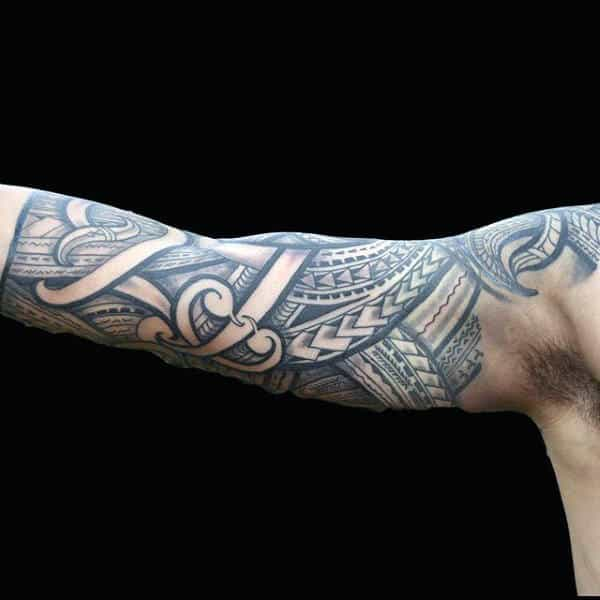 Shaded Grey Tribal Half Sleeve Tattoo On Man