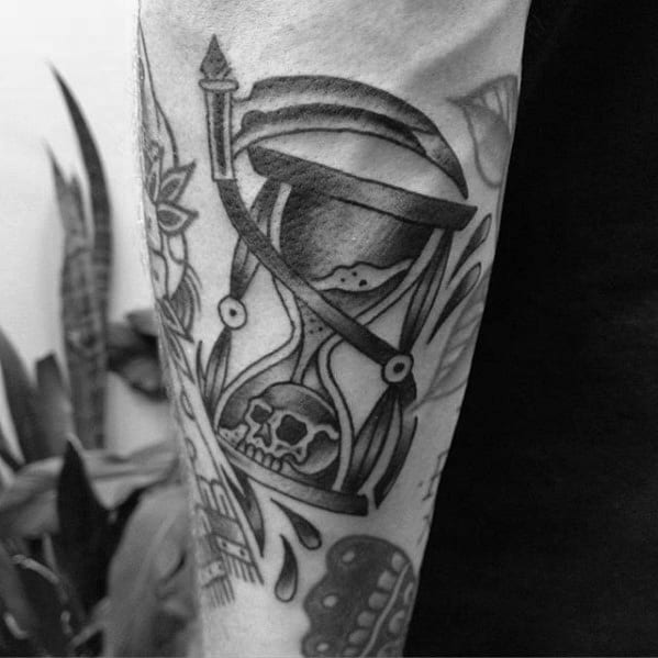 Shaded Grim Reaper Traditional Hourglass Mens Outer Forearm Tattoo