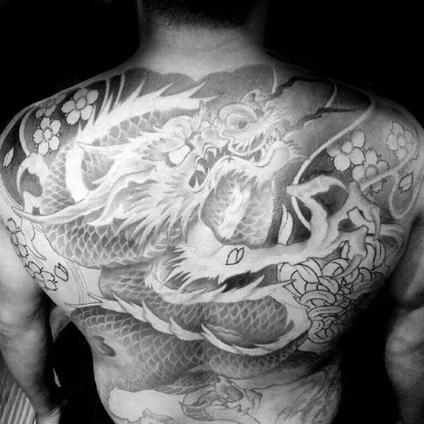 Shaded Guys Back Japanese Tattoo Dragon Design Ideas