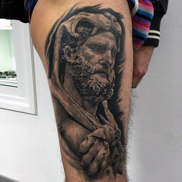Shaded Guys Black And Grey Ink Hercules Thigh Tattoos