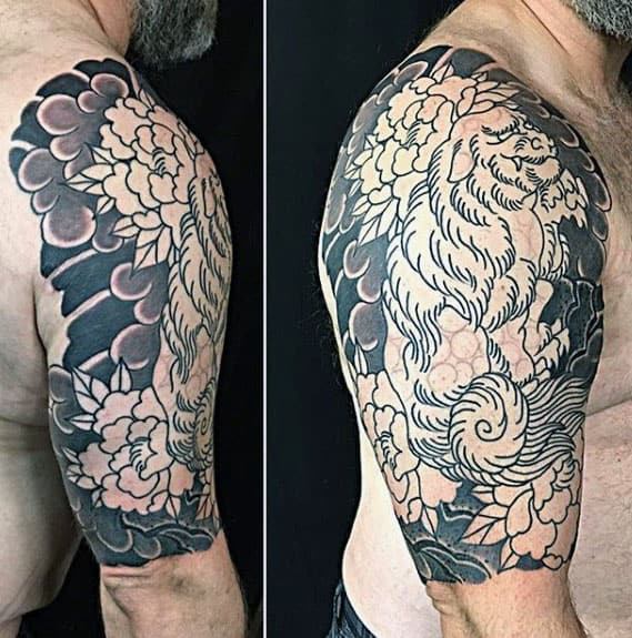 Shaded Guys Fu Dog Half Sleeve Japanese Tattoo With Cloud Background Design