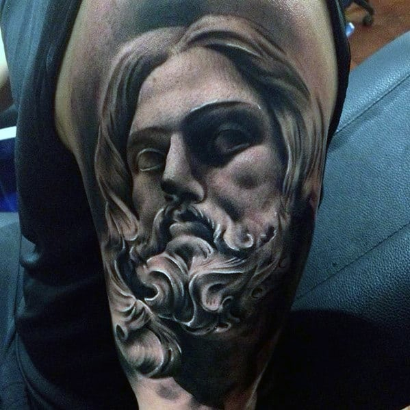 Shaded Guys Jesus Portrait Arm Tattoos