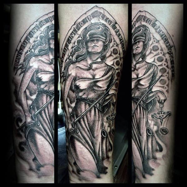 Shaded Guys Lady Justice Tattoo On Forearm