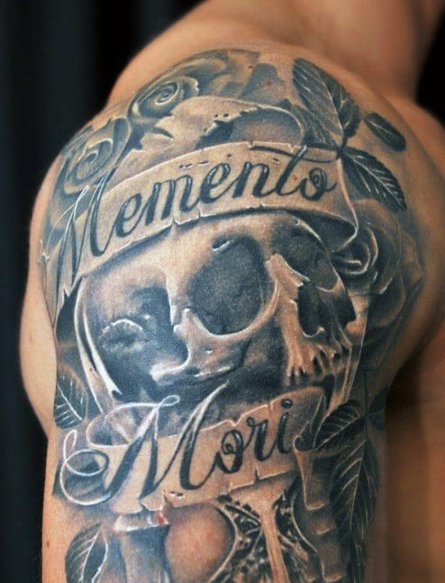 Shaded Guys Memento Mori Skull Half Sleeve Tattoos