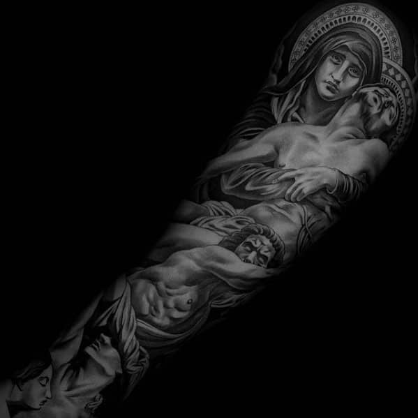 Shaded Guys Mother Mary Holding Jesus Full Arm Sleeve Tattoo Design Ideas