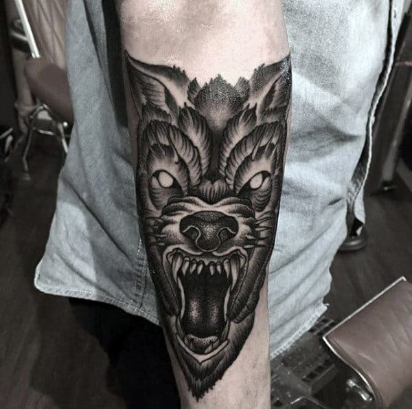 Shaded Guys Old School Angry Wolf Forearm Tattoo