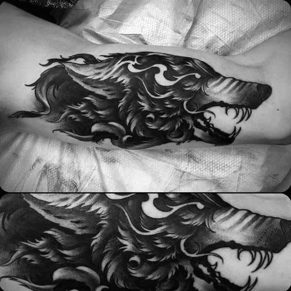 Shaded Guys Sick Wolf Tattoo On Outer Arm