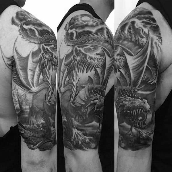 Shaded Half Sleeve Arm Guys Dragon Tattoo Designs