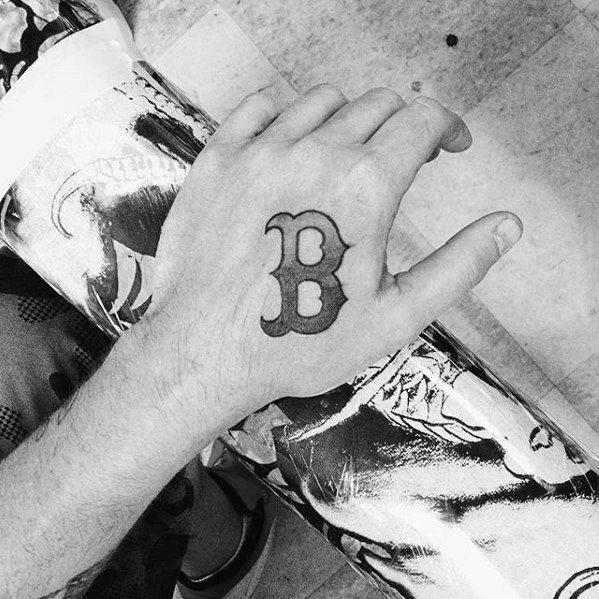 Shaded Hand Boston Red Sox Mens Tattoo Designs