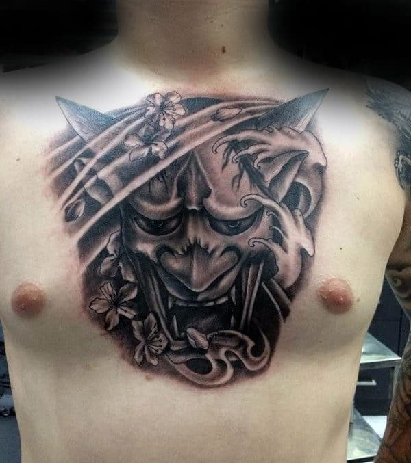 Shaded Hannya Mask Black And Grey Male Center Of Chest Tattoos