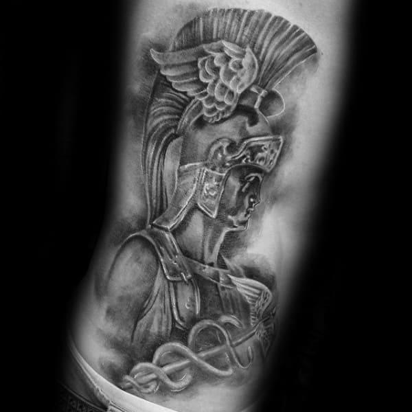 Shaded Hermes Portrait Mens Greek Rib Cage Side Tattoos
