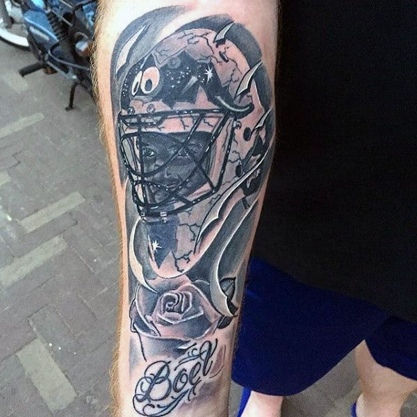 Shaded Hockey Mask With Rose Flower Guys Inner Forearm Tattoos