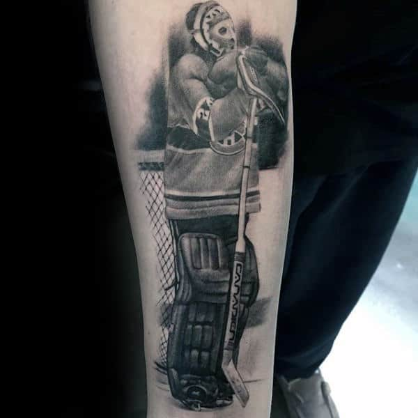 Shaded Hockey Player Tattoo On Males Inner Forearm
