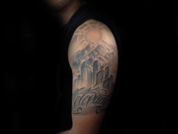 Shaded Ink Colorado City Buildings Mens Half Sleeve Tattoo