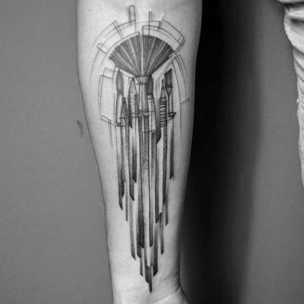 Shaded Inner Forearm Incredible Pencil Tattoos For Men