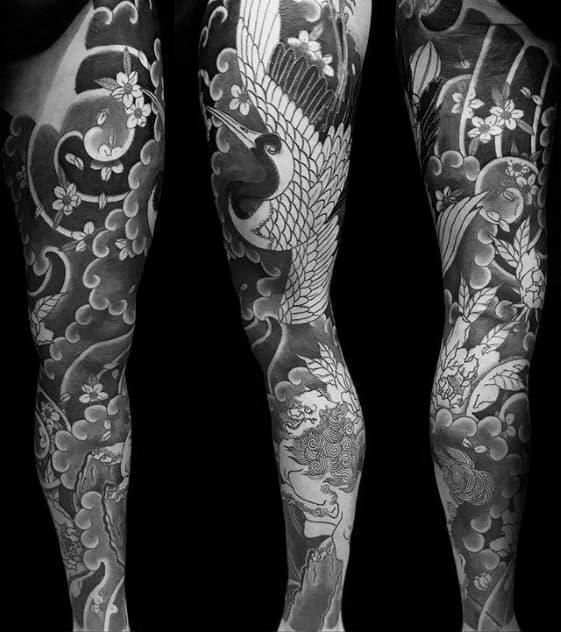 Shaded Japanese Crane Full Leg Sleeve Mens Tattoos