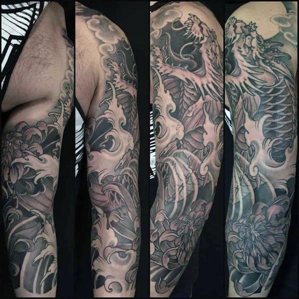 Shaded Japanese Male Koi Dragon Tattoo Sleeve Ideas