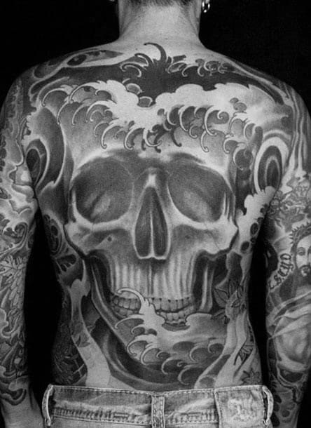 Shaded Japanese Skull Full Back Tattoo Ideas For Gentlemen