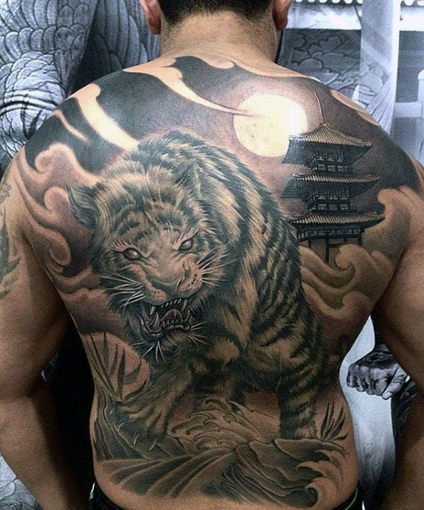 Tiger And Dragon Full Chest Piece: 70 Japanese Tiger Tattoo Designs For Men