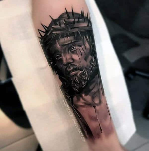 Shaded Jesus Catholic Black And Grey Mens Inner Forearm Tattoo