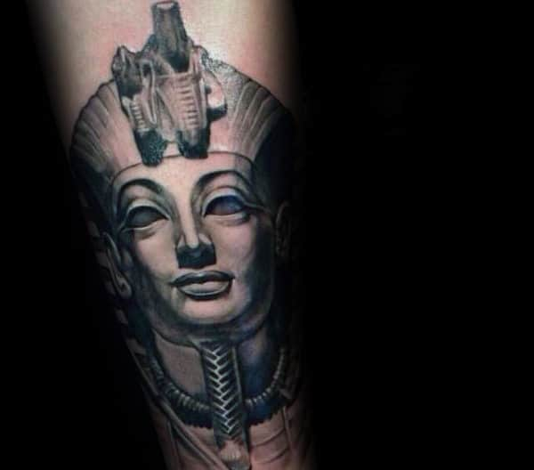 Shaded King Tut Male Tattoo Inspiration On Forearms