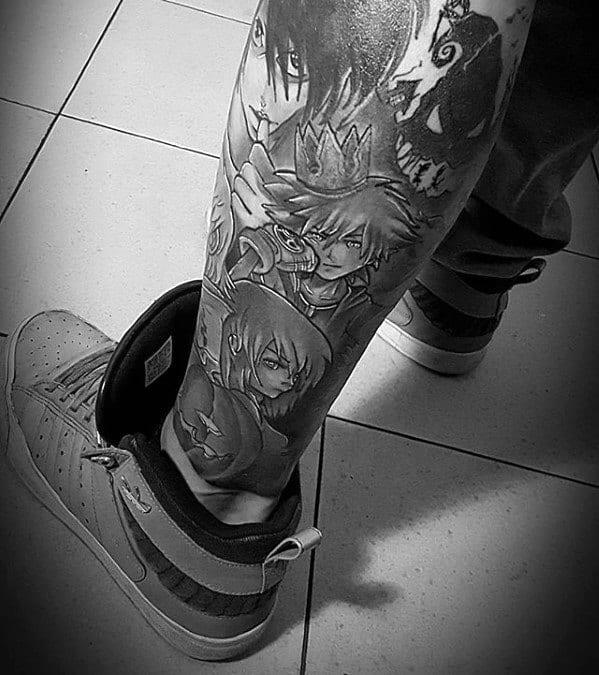 Shaded Leg Sleeve Anime Tattoo On Men