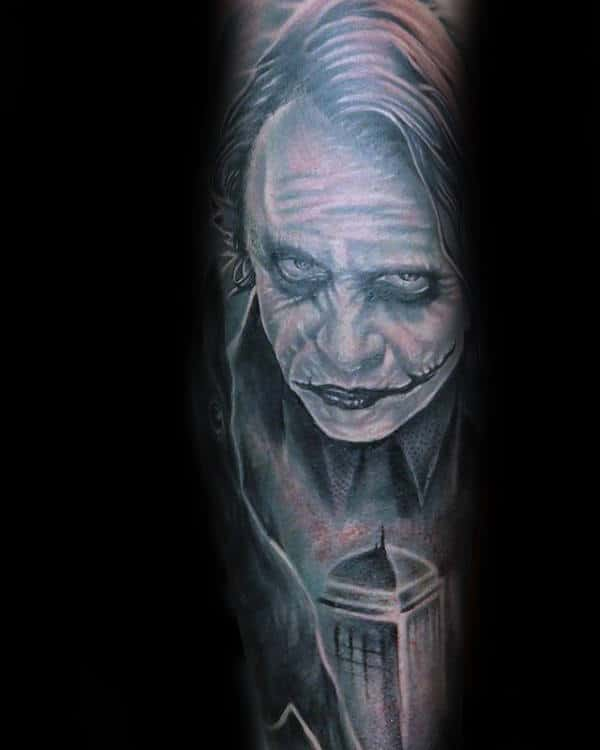 Shaded Light Grey With White Ink Joker Male Sleeve Tattoos