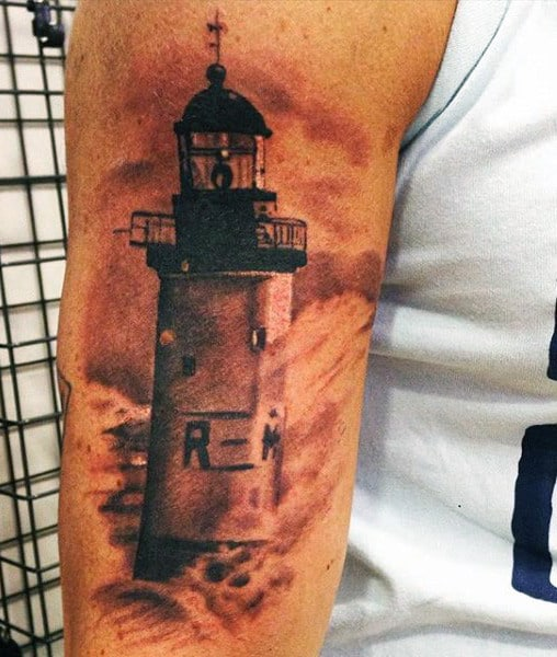 Shaded Lighthouse Mens Tattoo On Bicep