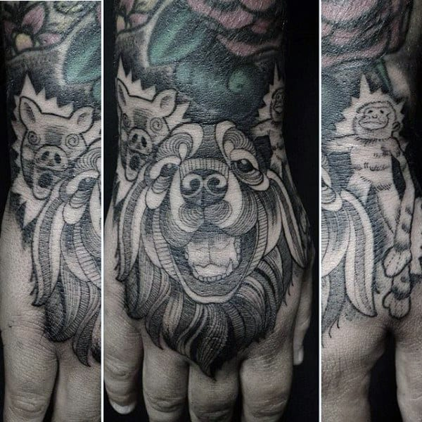 Shaded Line Work Dog Tattoo For Men On Hands