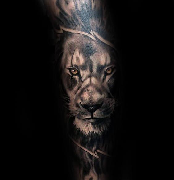 Shaded Lion With Orange Eyes Mens Leg Sleeve Tattoo Ideas