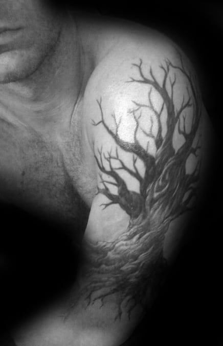 Shaded Male Family Tree Arm Tattoos