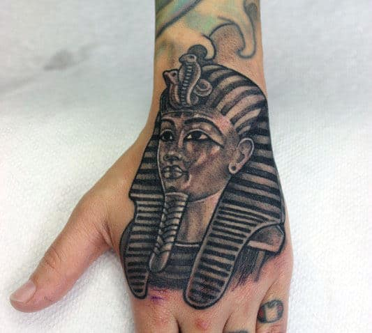 Shaded Male King Tut Hand Tattoo Ideas
