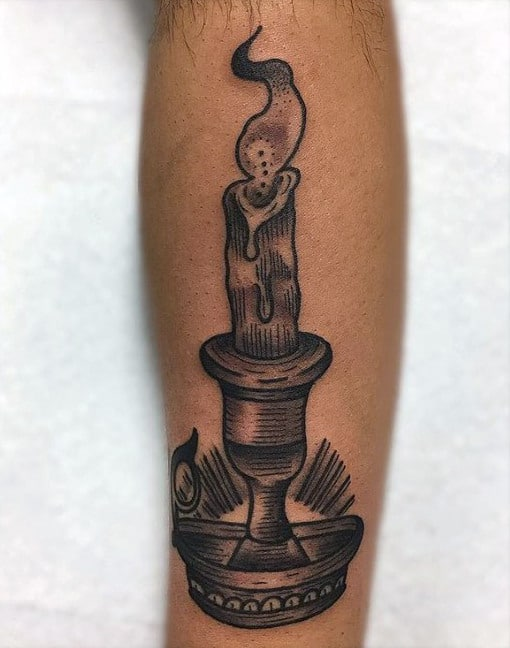 Shaded Male Old School Traditional Forearm Tattoo With Candle Design