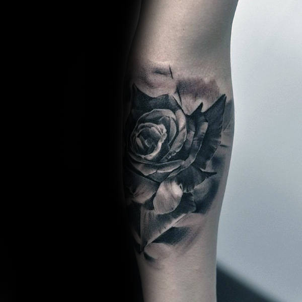 Shaded Male Realistic Rose Tattoo On Inner Forearms