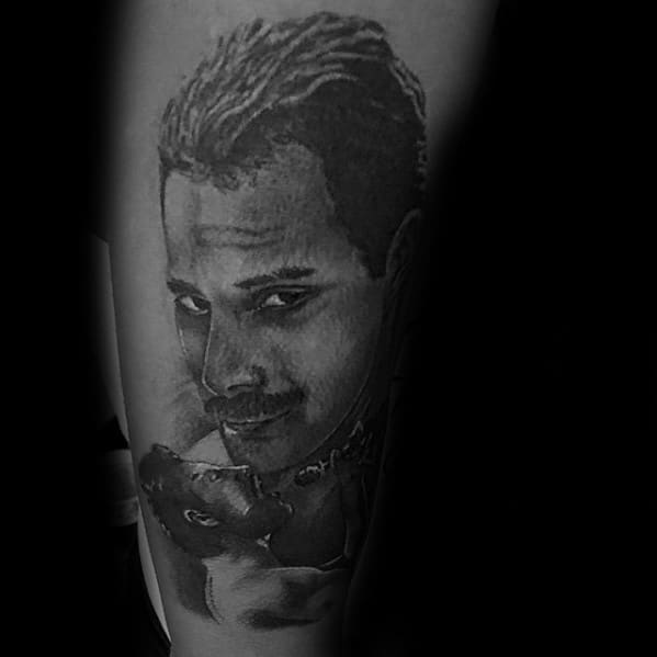 Shaded Male Tattoo With Freddie Mercury Design