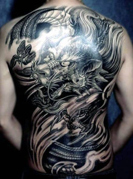 Shaded Manly Chinese Dragon Full Back Tattoo On Guy