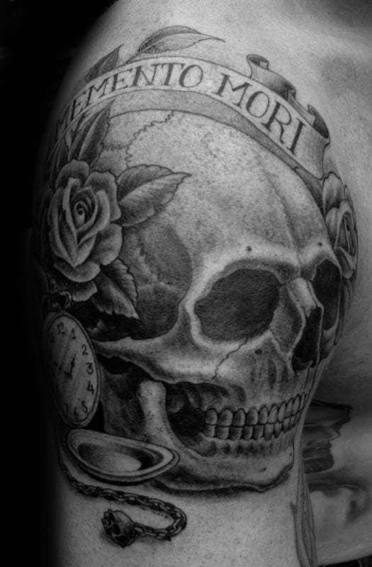 Shaded Memento Mori Skull Male Upper Arm Tattoo