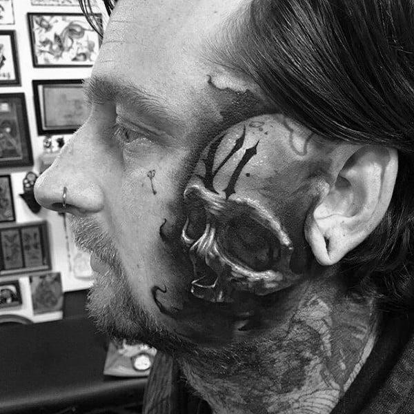 Shaded Mens 3d Realistic Face Skull Tattoos