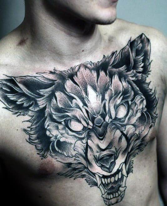 Shaded Mens Angry Wolf Upper Chest Tattoos