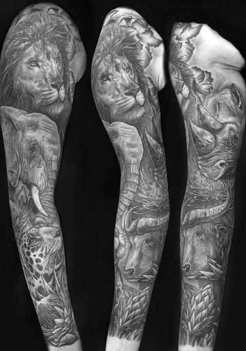shaded-mens-animal-themed-sleeve-tattoo-with-lion-design