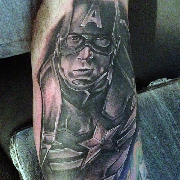 Shaded Mens Arm Captain America Tattoos