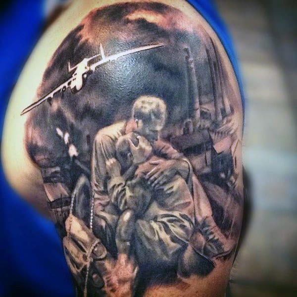 Shaded Mens Army Upper Arm Tattoo Design Ideas