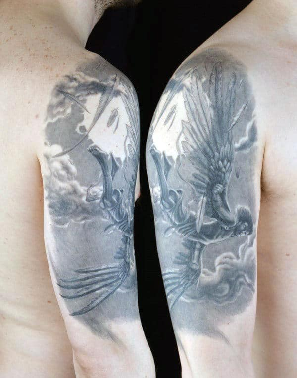 Shaded Mens Half Sleeve Icarus Tattoo Designs